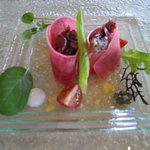 指帆亭 - ランチのコースの前菜赤がとても・