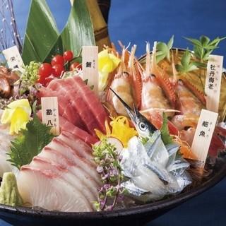 築地より届く鮮魚のお造り各種