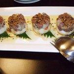 ぶらっすりー海風堂 - 料理写真:マグロのカルパッチョ、台はポテトサラダの高級バーションみたいな。美味しかったです。