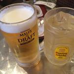 百 - ビールとハイボール(200円)。