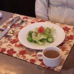 サッチア - 料理写真:日替わりコースのサラダとスープです。