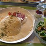 36509065 - とろ〜りチーズのクロックムッシュ風パンケーキ