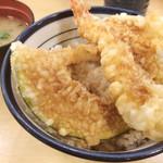 天丼てんや - 天丼500円  味噌汁付き 海老、イカ、キス、かぼちゃ、ししとう