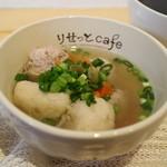 りせっとcafe - パワーアップすぅぷ、白身魚、アーモンド、くるみ、鶏肉