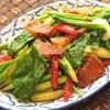 タイ野菜「カナー菜」とカリカリ豚肉の炒め
