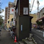 八栄亭 - 左側を行くと下店、右側の坂道を行くと上店。
