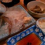 あさの食堂 - 活イカ定食を注文