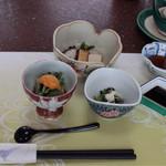 三笠屋 - 料理写真:前菜3種