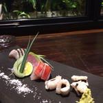 博多金鯖 - 炙り三種盛り。金目鯛、穴子、鰆の炙り。お塩で。