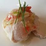 Tentsuusaikan - これが一番だった。前菜「鶏のトマトとネギのソース」