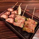 鶏頂天 - しいたけ串と豚アスパラ串