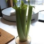 Steirereck - 食べやすいサイズにカットしたセロリを挟む台座のセロリw セロリは卵黄につけて頂きます。