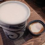 松好 - 生ビール&お通し(温泉卵)