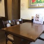 ラッキー食堂 - 4人掛けテーブル5卓、2人掛けテーブルが2卓と、結構入れます