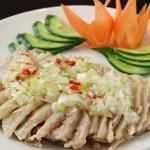 中華料理 菜香菜 - 蒸し鶏肉のネギソース
