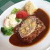 レストラン ミグロ - 料理写真:ランチのお肉セット(1,575円)のメイン『豚カツレツのチーズのせ』 2015年4月