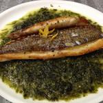 みょうが屋 - 養殖鯛のアオサバターソテー