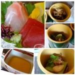 36673548 - お造りは「鮪と鯛の昆布〆」「フォアグラ茶碗蒸し」旬菜は「グリーンピース豆腐」「ほうれん草のお浸し」「胡瓜の酢の物