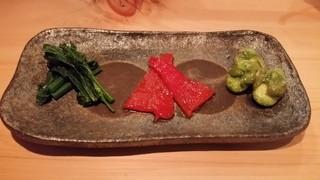 串揚げ 依知川 - 小松菜&赤ピーマンの酒盗漬&揚げ天豆