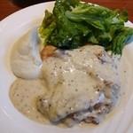 36733993 - 今日の料理。鶏もも肉ロースト   クリームマスタードソース。1050円。
