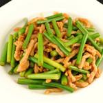 チャイナ ガーデン - 豚肉とニンニクの芽炒め