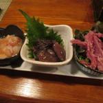 松吟庵 - 珍味盛り合わせ 小柱・ホタルイカ沖漬・豚肉ジャーキー