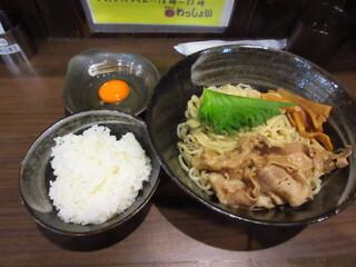 麺屋わっしょい - 男のまぜ麺200g+生玉子+ご飯