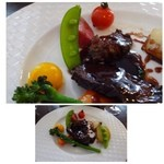 ラ パニエ ド ニーム - ◆牛バベット(ハラミ肉です)のステーキ 赤ワインソース 季節野菜添え お肉は普通ですがソースが濃厚で好みです。