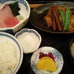 海ぼうず - あぶらぼうず煮付けと刺身2点盛り定食