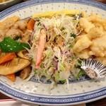 36800988 - 二種盛り合わせ(豚肉の野菜炒め・イカの天ぷら) カニ入り野菜サラダ