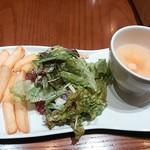 36810456 - ランチ前菜(サラダ、フリッツ、スープ)