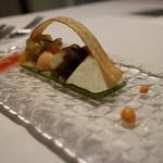 リストランテ ウミリア - ゴボウのアーチ、カポナータ、人参ムース、ちこり、トリビス等のグリリア