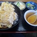 36840613 - カツ丼には中華スープとお漬物が2品付きます