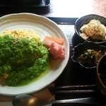 marusan&wacca - ちりめんじゃこと山椒のオムライスwithグリーンピースのソース