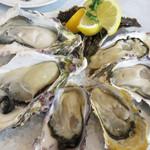 オイスタールーム 梅田ハービスエント店 - 岩牡蠣と真牡蠣の6個ミックスプレート。今回のセットは、岩牡蠣は長崎県五島列島産で、真牡蠣は兵庫県播磨灘室津産と長崎県九十九島産でした。