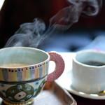 水の音土の音 - ドリンク写真:カフェオレの湯気がうまく撮れました♡