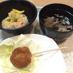 36869412 - 串カツ(中身はたこ焼き!)、大阪蒸し寿司、肉吸い