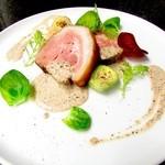 恵び寿 Y邸 - 豚肩ロースのス        モークロースト モリーユ茸のクリームソース