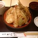 36874056 - 野菜天丼に海老と大葉トッピング