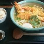 手打うどん まるいち - 天ぷらうどんとかやくご飯のセット