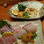 なみ - タラの白子ポン酢和え(上)刺し盛り(下)