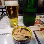 藤田酒店 - 鮭缶とハートランドビール。