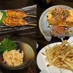 酒楽家トシゾウ - 赤鶏つくね(2本)¥500/厚揚げ¥450/梅水晶¥380/フライドポテト¥380