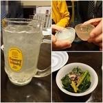 酒楽家トシゾウ - レモンサワー¥380/越後おやじ¥600で乾杯!/お通し¥200