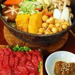 はやし - 料理写真:甲州ほうとう ヒレ肉の馬刺し