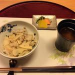 竹彩 - 筍と若布の釜炊きご飯、赤出汁、香の物