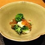 36899670 - 先附 (豆苗と近江コンニャク・菜の花・いくら・蒸し鶏の和え物)