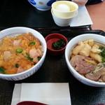 なか卯 - 鴨ねぎうどん小うどん+親子丼ミニ
