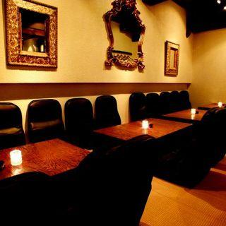 ゆったりできる堀ごたつ式テーブルは22名様までOKです!