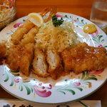 サンキチ - チキンカツ ランチ750円 & 海老フライ300円